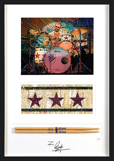 Ringo Starrs Used Drum Sticks Signed Framed
