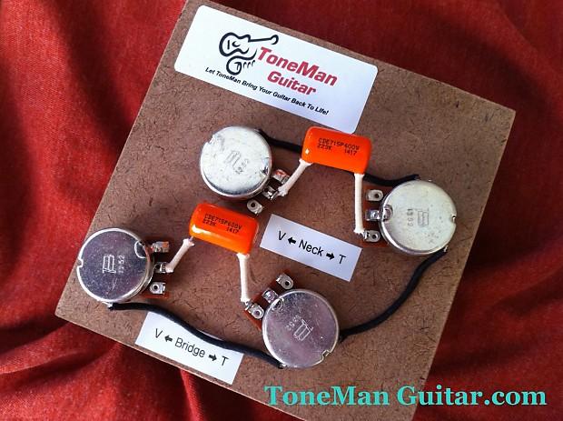 Les Paul 50's Wiring Harness - .022uf / .015uf Orange Drop Tone Caps,  S Wiring Les Paul on