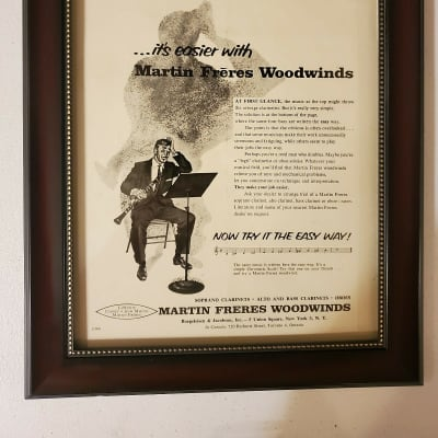 1957 Martin Freres Woodwinds Promotional Ad Framed Martin Freres Clarinet Original