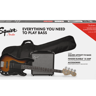 Squier Affinity Series Precision Bass PJ Pack Brown Sunburst Jazz Gig Bag Rumble Amp Authorized Deal