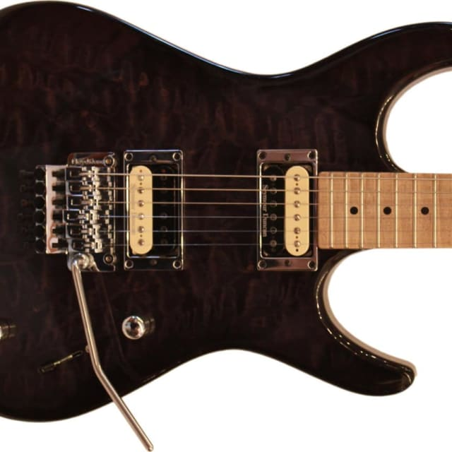 Guilford NPH-80 Custom Built Electric Guitar - Trans Black Top/Maple Neck - Prime Deal with Case image