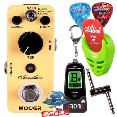Mooer Acoustikar Micro Acoustic Guitar Simulator Effect Pedal w/Picks PC-Z Pick Holder Aroma Tuner