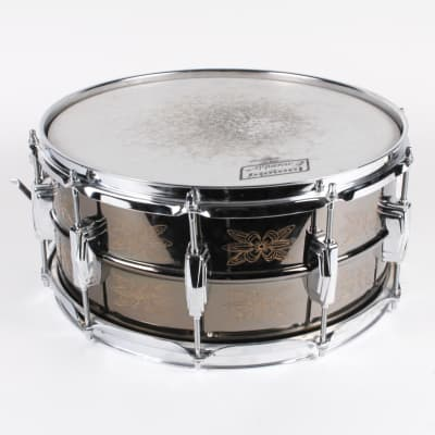 """Ludwig No. 451 Engraved Black Beauty 6.5x14"""" Brass Snare Drum with Rounded Blue/Olive Badge 1979 - 1980"""
