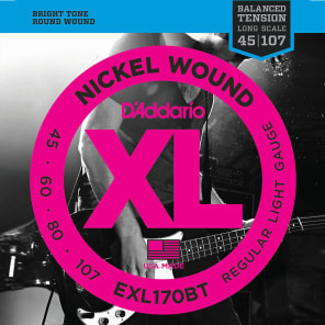 D'Addario EXL170BT Balanced Tension Nickel Wound Light Bass Guitar Strings