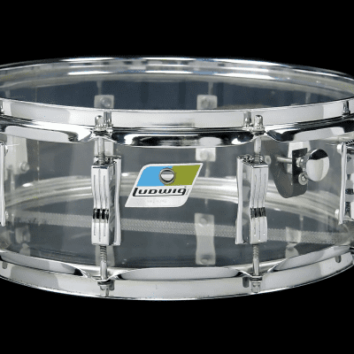 "Ludwig No. 413 Vistalite Super-Sensitive 5x14"" Acrylic Snare Drum 1970s"