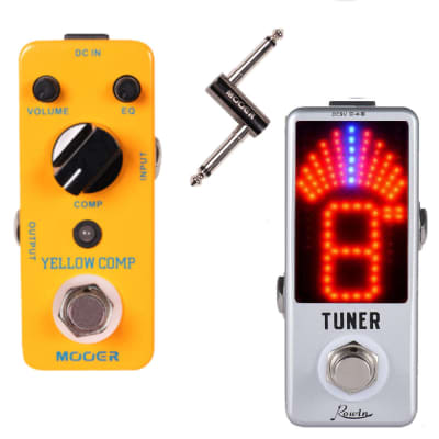 MOOER Yellow Comp Optical Compression and Rowin Tuner + PCZ Jack