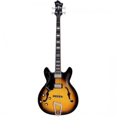 Hagstrom Viking Bass Guitar Semi-Hollow Left Handed Tobacco Sunburst w/ Hardcase for sale