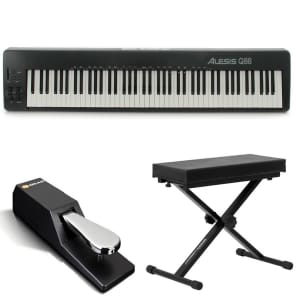 Alesis Q88 | 88-Key USB/MIDI Keyboard Controller with Pitch & Wheels + Bench + M-Audio Sustain Pedal