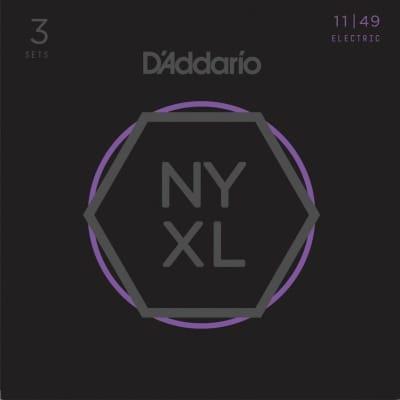 D'Addario NYXL1149 Medium 3-Pack Electric Guitar Strings for sale
