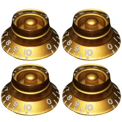 (4) EMBOSSED Top Hat Bell Knobs for Gibson® USA & CTS® Split Shaft Pots - GOLD