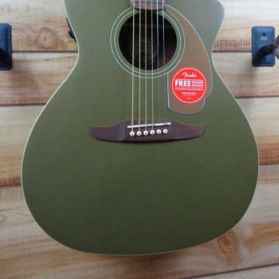 New Fender® Newporter Player Walnut Fingerboard Acoustic Electric Guitar Olive Satin