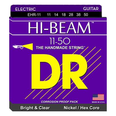 DR Strings Electric Guitar Strings, Hi-Beam, Hex Core 11-50