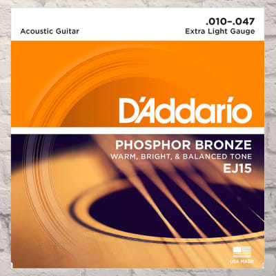 D'Addario EJ15 Extra Light Phosphor Bronze Acoustic Strings 10-47