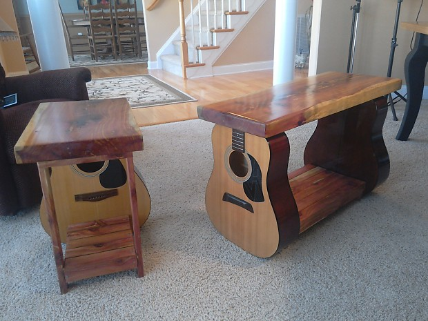 acoustic guitar coffee and end table reverb. Black Bedroom Furniture Sets. Home Design Ideas