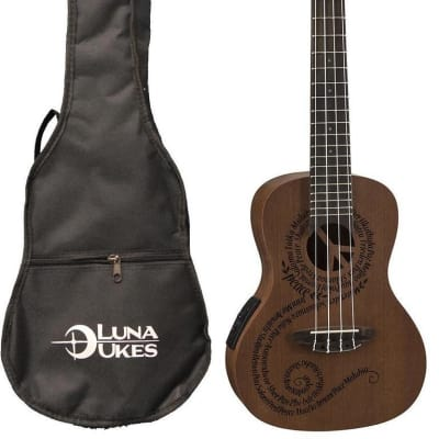 Luna Mahogany Series Maluhia Peace Acoustic-Electric Concert Ukulele, UKE MALU EL for sale