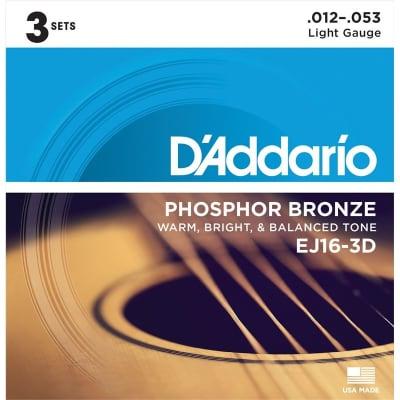 D'Addario EJ16-3D Phosphor Bronze Acoustic, Light, 12-53, 3 Pack for sale