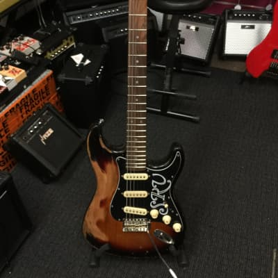 Haze Relic STB  3-Tone SRV Electric Guitar,Aged Chrome Hardware+Free Bag for sale