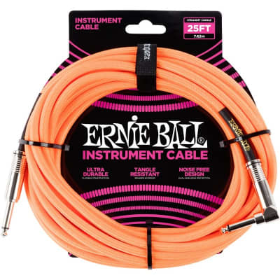 Ernie Ball 6057 Braided Instrument Cable, 25ft/7.6m, Neon Yellow for sale