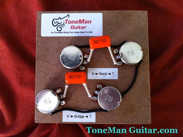 Les Paul 50's Wiring Harness - .022uf Orange Drop Tone Caps, Short  S Wiring Diagram on