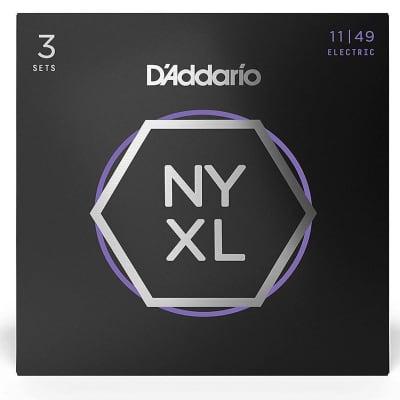 D'Addario NYXL1149-3P Nickel Wound Electric Guitar Strings, Medium, 11-49, 3 Sets