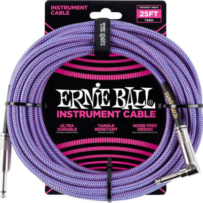 Ernie Ball Braided 25ft Guitar Lead / Cable, Purple/Blue, Straight/Angle for sale