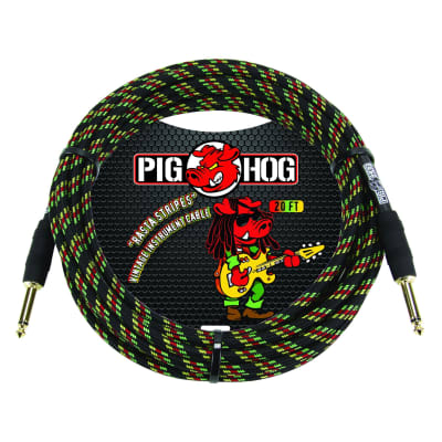 "Pig Hog ""Rasta Stripes"" Vintage Woven Instrument Cable - 10 FT Straight 1/4"" Plugs (PCH10RA), Reggae"