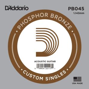 D'Addario PB045 Phosphor Bronze Wound Acoustic Guitar Single String .045