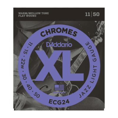 D'Addario ECG24 XL Chromes Flatwound Electric Guitar Strings, Jazz Light Gauge Standard