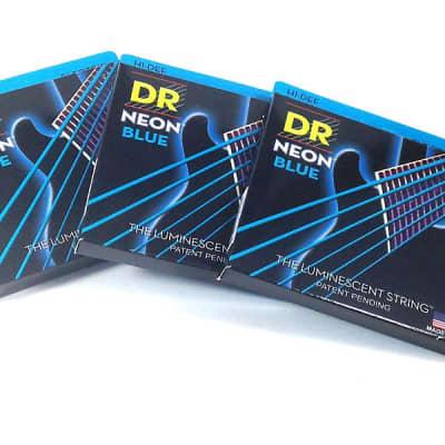 DR Guitar Strings 3 Pack Electric Neon Blue 10-46 Medium