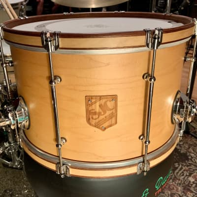 SJC Maple Ballad Snare 10x16 2012 Natural maple finish with mahogany stain trim.