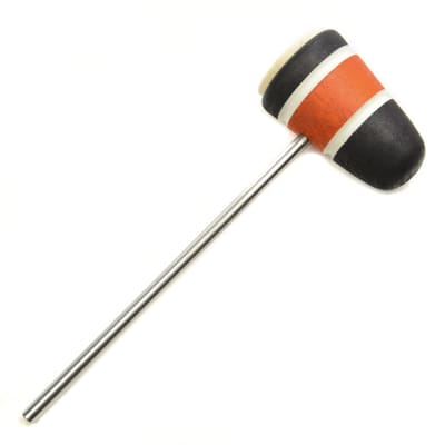 Low Boy Standard Felt Brown Bass Drum Beater Black/Orange/Black w/White Stripes & CDE Logo (CME Exclusive)