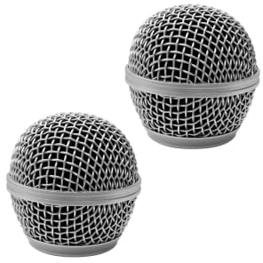 Seismic Audio SA-M30Grille-Silver-2PACK Replacement Steel Mesh Mic Grill Heads (2-Pack)