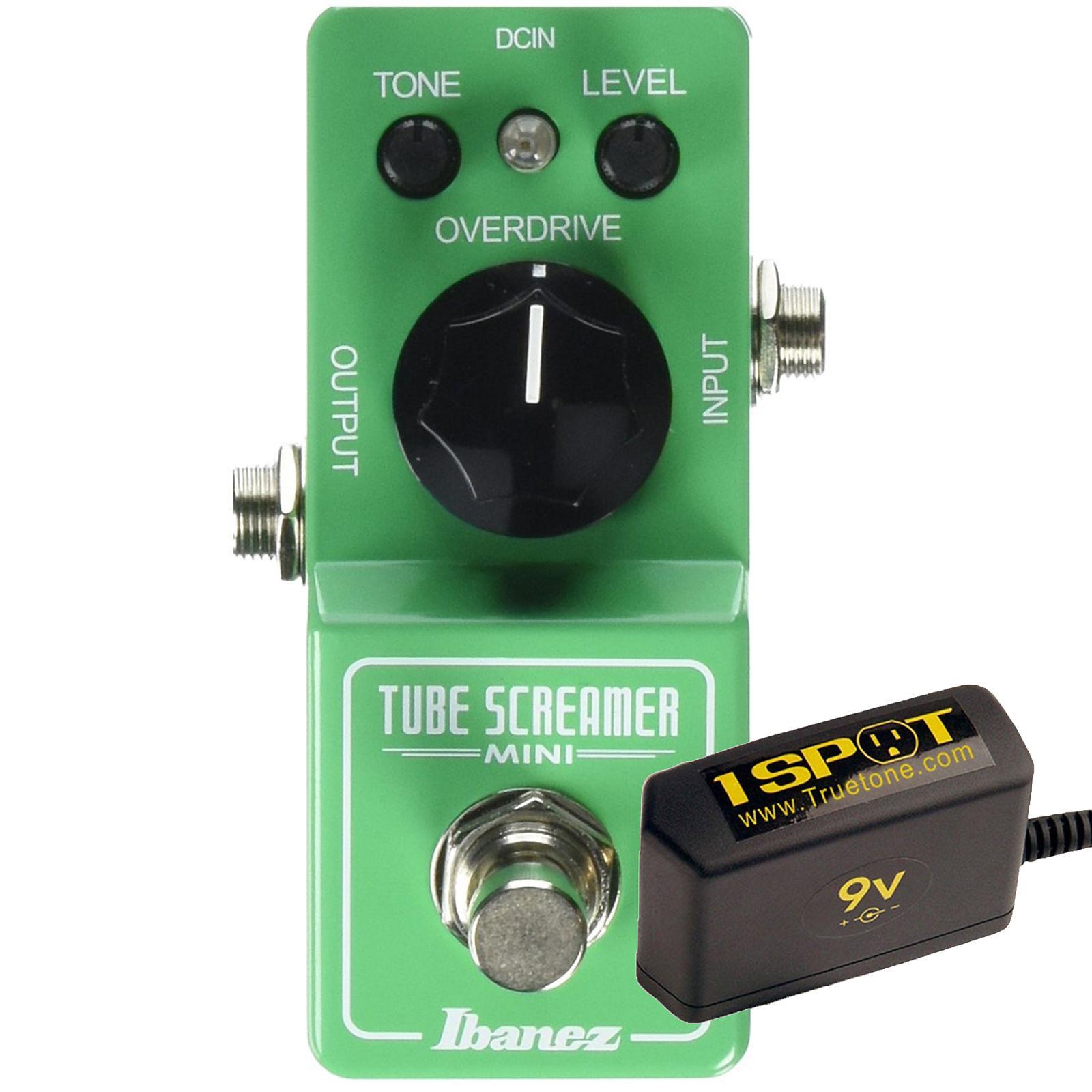 Ibanez Tube Screamer Mini Bundle w/ Truetone 1 Spot Space Saving 9v Adapter