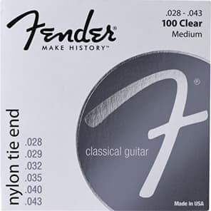 Fender 100 Clear Nylon Tie End Classical Guitar Strings - MEDIUM 28-43 for sale