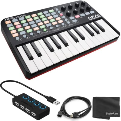 Akai Professional APC Key 25 | Ableton Performance Controller  with USB Ext Cable and 4 Port USB Hub