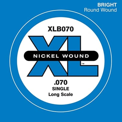 D'Addario XLB070 Nickel Wound Long Scale Single Bass Guitar String, .070