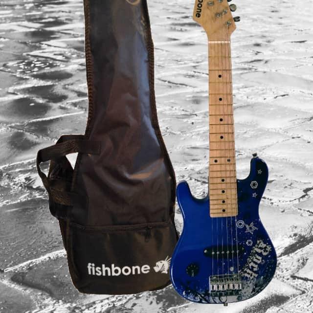 Fishbone Guitars ROCK Mini Model STS-BLU-2L Shorty Travel Guitar Strat Style LEFTY +Gig Bag + Strap image
