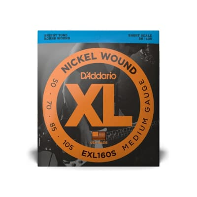 D'Addario EXL160S Nickel Wound Short Scale Bass Guitar Strings, Medium Gauge
