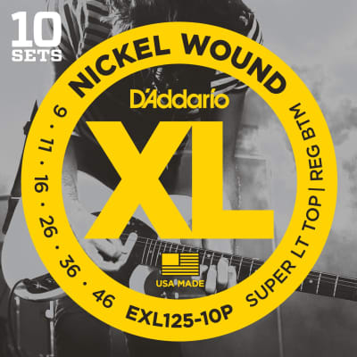 D'Addario EXL125-10P 10 Pack Super Light Top Regular Bottom Nickel Wound Guitar Strings - 09-46