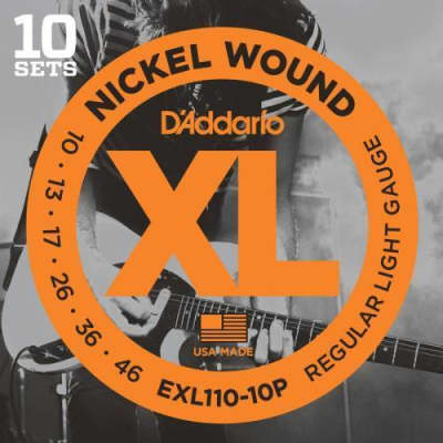 D'Addario 10-Pack Nickel Wound Electric Strings (Regular Light 10-46)
