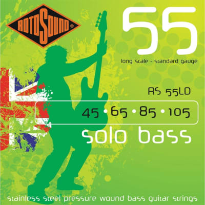Rotosound RS55LD Solo Bass Stainless Steel Pressure Wound Bass Strings - Standard (45-105)