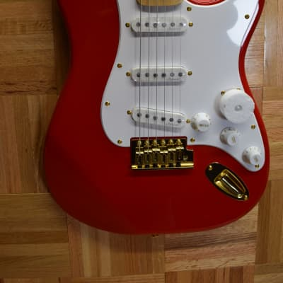 Harley Benton ST-59HM  2021 Fiesta Red Gold Hardware USA Stock Fast Shipping! Hank Marvin Tribute for sale