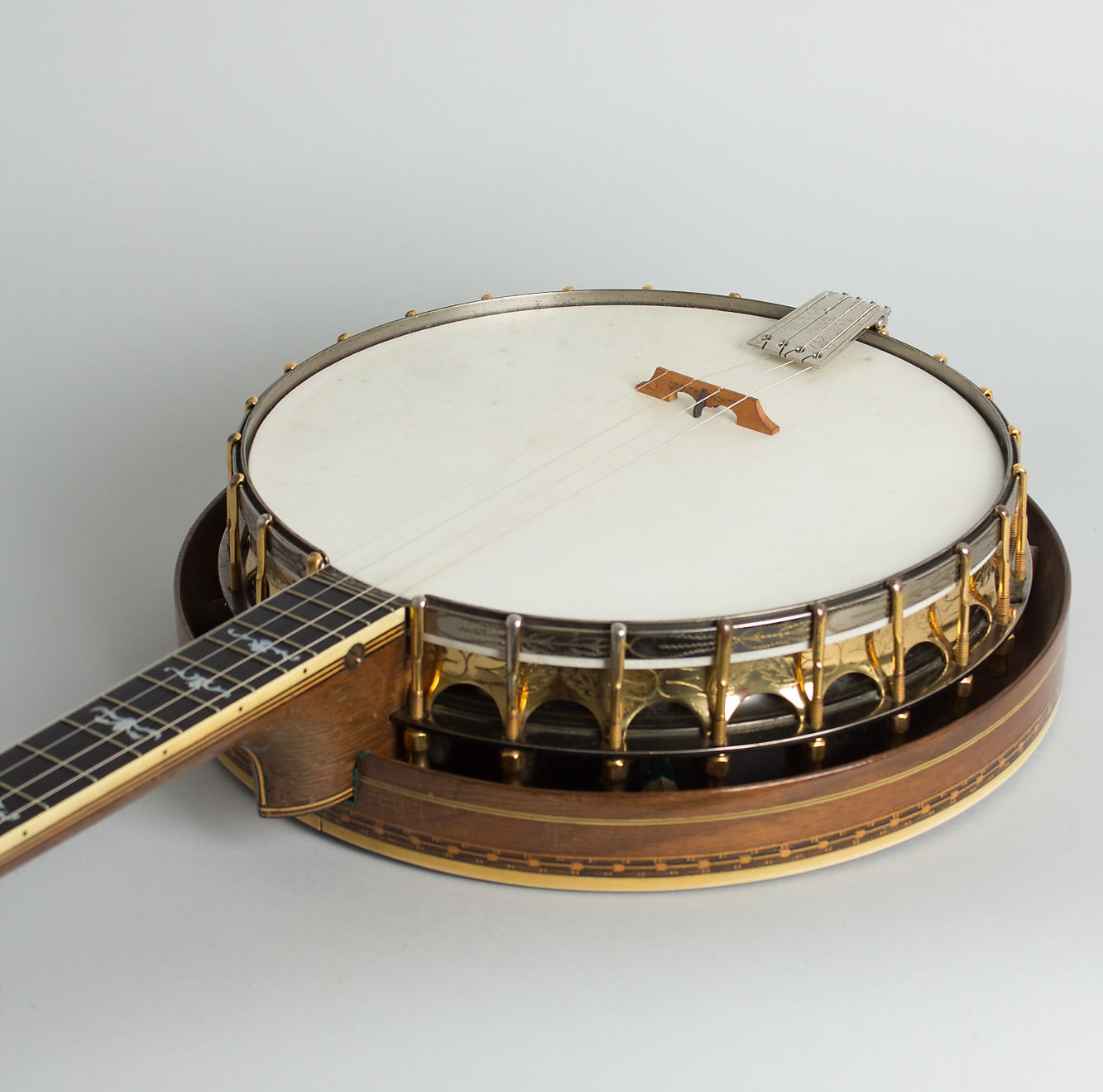 Ludwig  Stratford Plectrum Banjo (1925), ser. #4168, original black hard shell case.