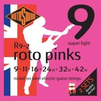 RotoSound Roto Pinks Super Light Electric Guitar Strings - 9's