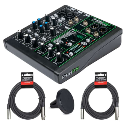 Mackie ProFX6v3 6-Channel Mixer with USB and Effects with 2- XLR Cable and Magnet Phone Holder