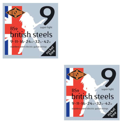 RotoSound Guitar Strings 2-Pack British Steels Stainless Steel Super Light 9-42