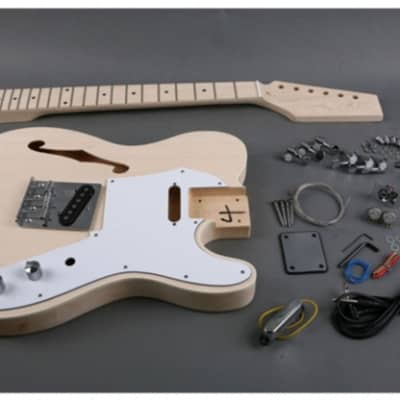 Unbranded Tele Thinline Style Semi Hollow Body Electric Guitar DIY Kit Natural Unfinished
