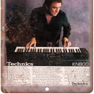 "Technics KN800 Johnny Cash Guitar Retro Ad 10"" x 7"" Reproduction Metal Sign E19"