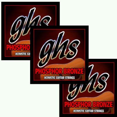 GHS Guitar Strings 3-Pack Acoustic UltraLight Phosphor Bronze 10-46