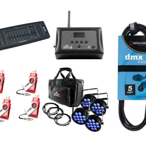 CHAUVET DJ SlimPACK T12 USB + D-Fi USB 4-Pack with Hub + Controller + Cable